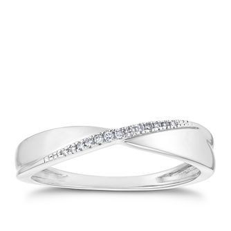 18ct White Gold Diamond Crossover Band - Product number 3220079