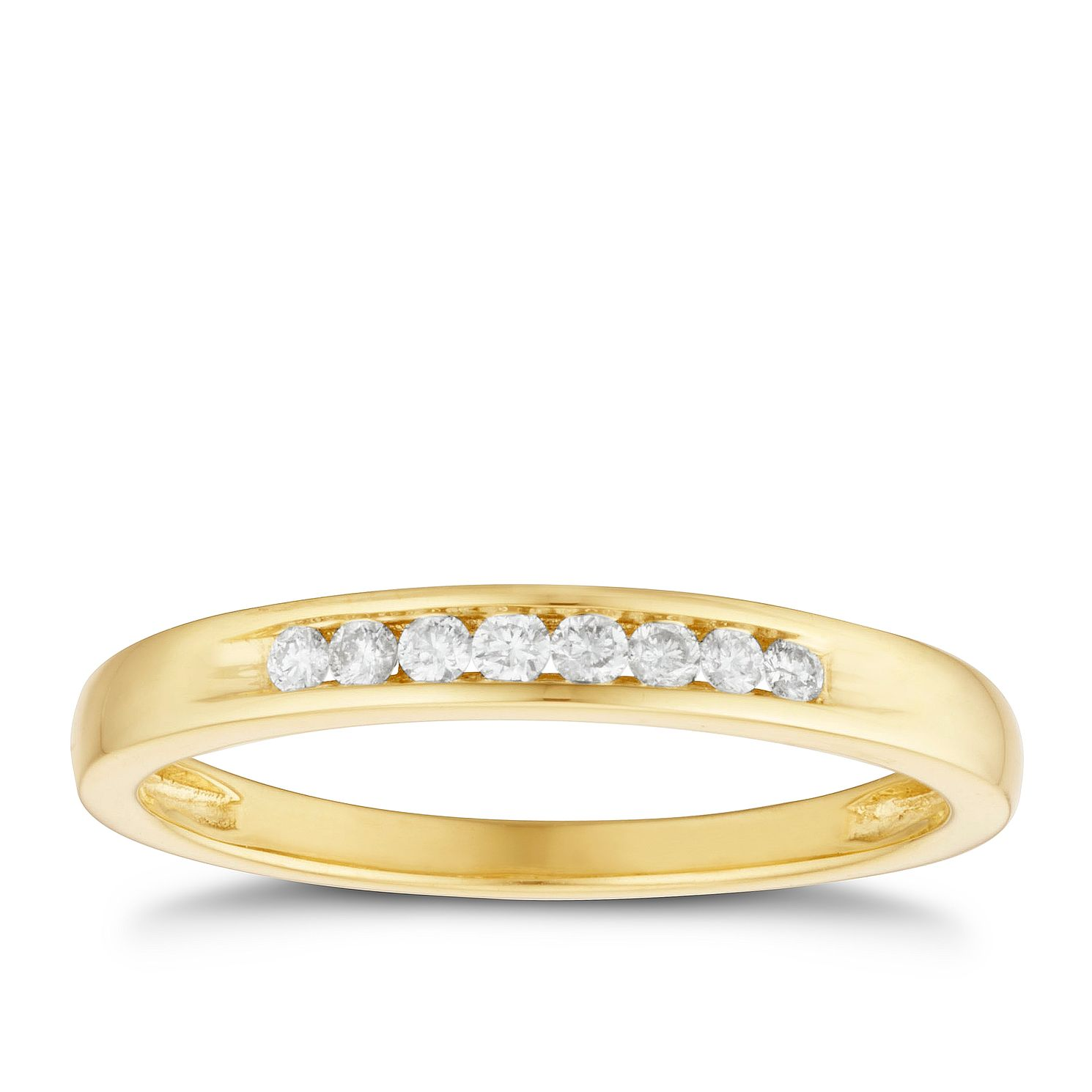 18ct Yellow Gold 0.10ct Diamond Band - Product number 3220419