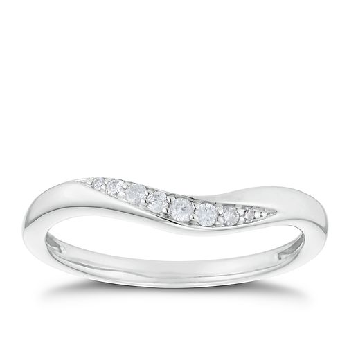18ct White Gold Diamond Curve Shaped Band - Product number 3221148