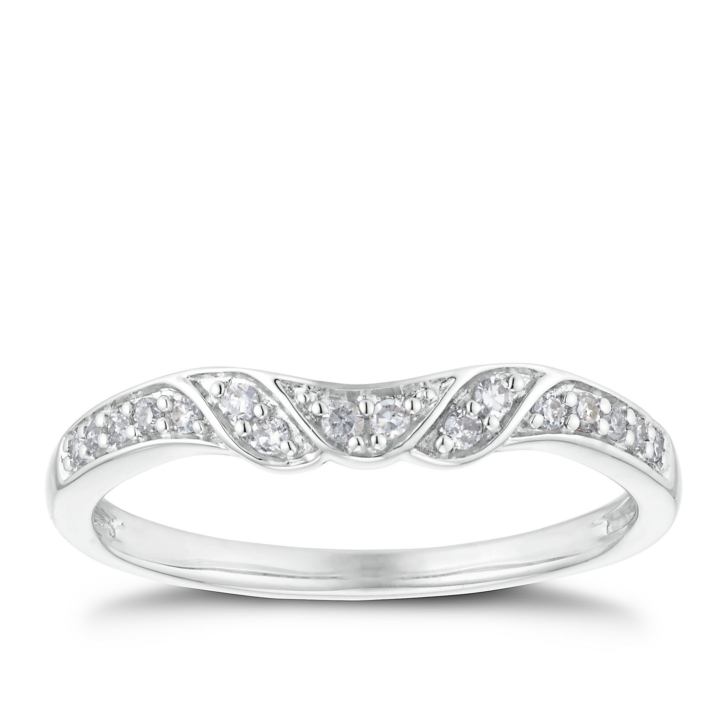 18ct White Gold 1/10ct Shaped Band - Product number 3221334