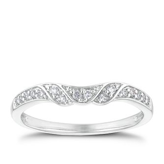 18ct White Gold 0.10ct Shaped Band - Product number 3221334