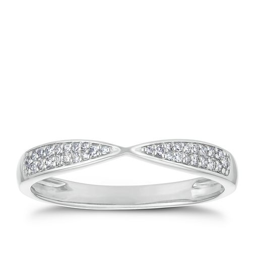 Palladium 950 1/10ct Diamond Pave Set Crossover Band - Product number 3226646