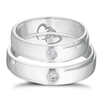 9ct White Gold Diamond Commitment Ring Set - Product number 3229181