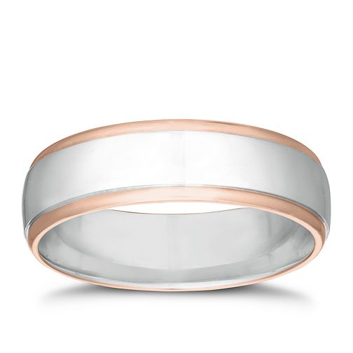Silver & 9ct Rose Gold Edge Ring - Product number 3229246