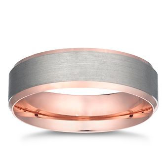 Palladium 500 & 9ct Rose Gold Brushed Band - Product number 3233022