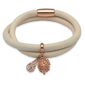 Unique ivory leather rose gold-plated steel charm bracelet - Product number 3233189