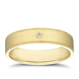 9ct Yellow Gold Diamond Milgrain Edge Ring - Product number 3234193