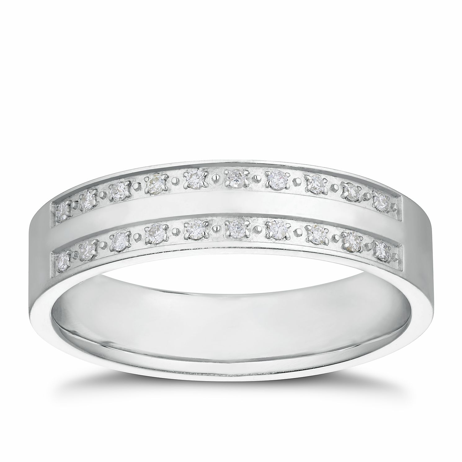 Silver 0.10ct Diamond Double Row Band - Product number 3234614
