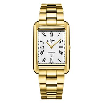 Rotary Cambridge Men's Rectangular Gold Tone Bracelet Watch - Product number 3235165