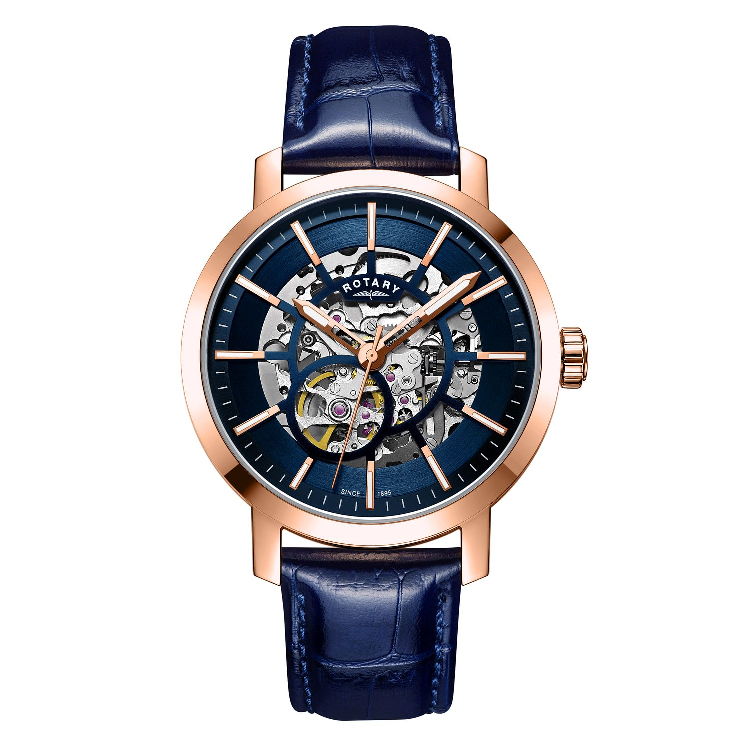 Rotary Greenwich Men's Skeleton Blue Leather Strap Watch - Product number 3235335
