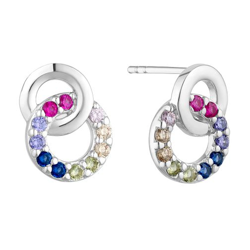 Silver Multicoloured Cubic Zirconia Linked Circle Earrings - Product number 3235432