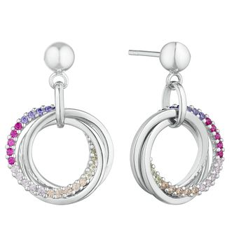 Silver Multicoloured Cubic Zirconia Triple Ring Earrings - Product number 3235440
