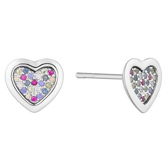 Silver Multicoloured Cubic Zirconia Heart Stud Earrings - Product number 3235467