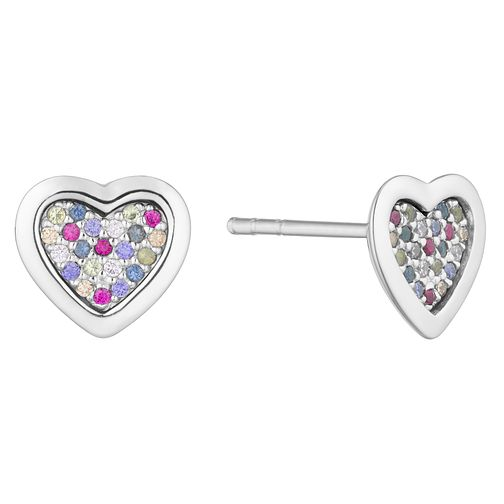 45b0d3465 Silver Multicoloured Cubic Zirconia Heart Stud Earrings - Product number  3235467