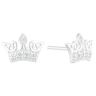 Silver Cubic Zirconia Crown Stud Earrings - Product number 3235475