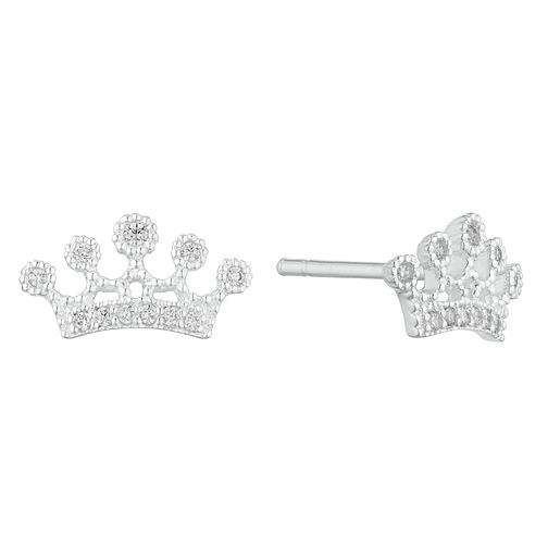 Silver Cubic Zirconia Crown Stud Earrings - Product number 3235483
