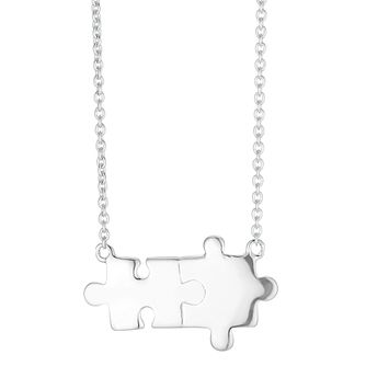 Silver Cubic Zirconia Jigsaw Piece Pendant - Product number 3235602