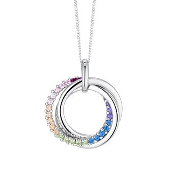 Silver Multicoloured Cubic Zirconia Triple Ring Pendant - Product number 3235823
