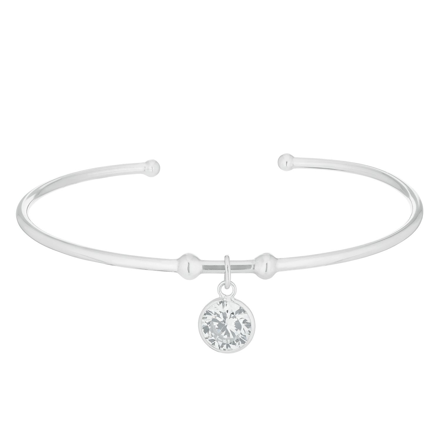 Silver Cubic Zirconia Round Drop Charm Bangle - Product number 3236072