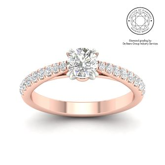 18ct Rose Gold & Platinum 3/4ct Diamond Solitaire Ring - Product number 3237745