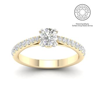 18ct Yellow Gold & Platinum 3/4ct Diamond Solitaire Ring - Product number 3242447