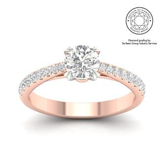 18ct Rose Gold & Platinum 1ct Diamond Solitaire Ring - Product number 3242897