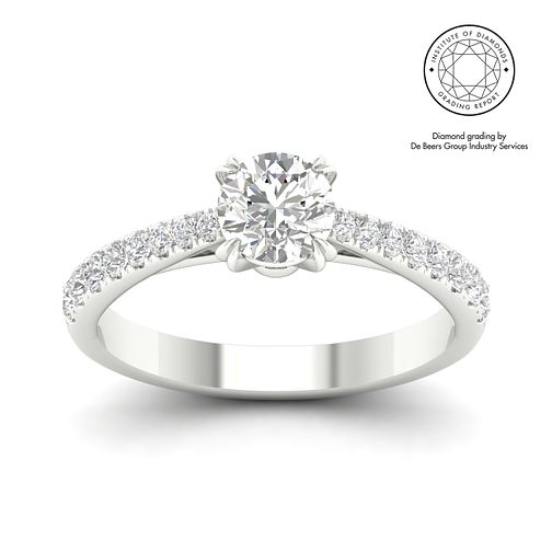 18ct White Gold & Platinum 1ct Diamond Solitaire Ring - Product number 3243095
