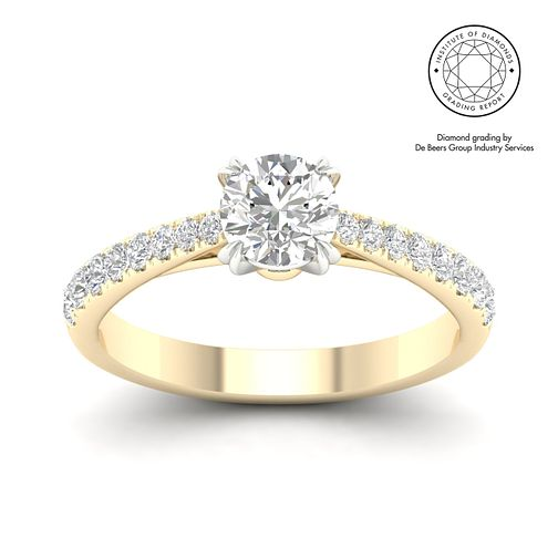 18ct Yellow Gold & Platinum 1ct Diamond Solitaire Ring - Product number 3243397