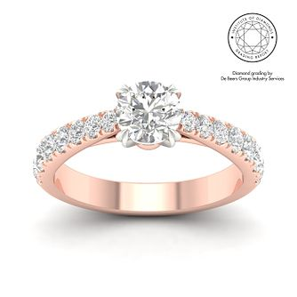 18ct Rose Gold & Platinum 1.5ct Diamond Solitaire Ring - Product number 3243648