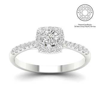 18ct White Gold & Platinum 0.75ct Total Diamond Ring - Product number 3245713