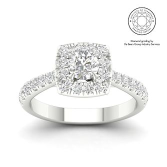 18ct White Gold & Platinum 1ct Diamond Solitaire Ring - Product number 3246930