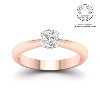 18ct Rose Gold & Platinum 1/2ct Diamond Solitaire Ring - Product number 3248577