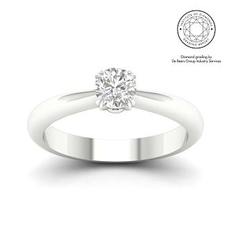 18ct White Gold & Platinum 1/2ct Diamond Solitaire Ring - Product number 3248909