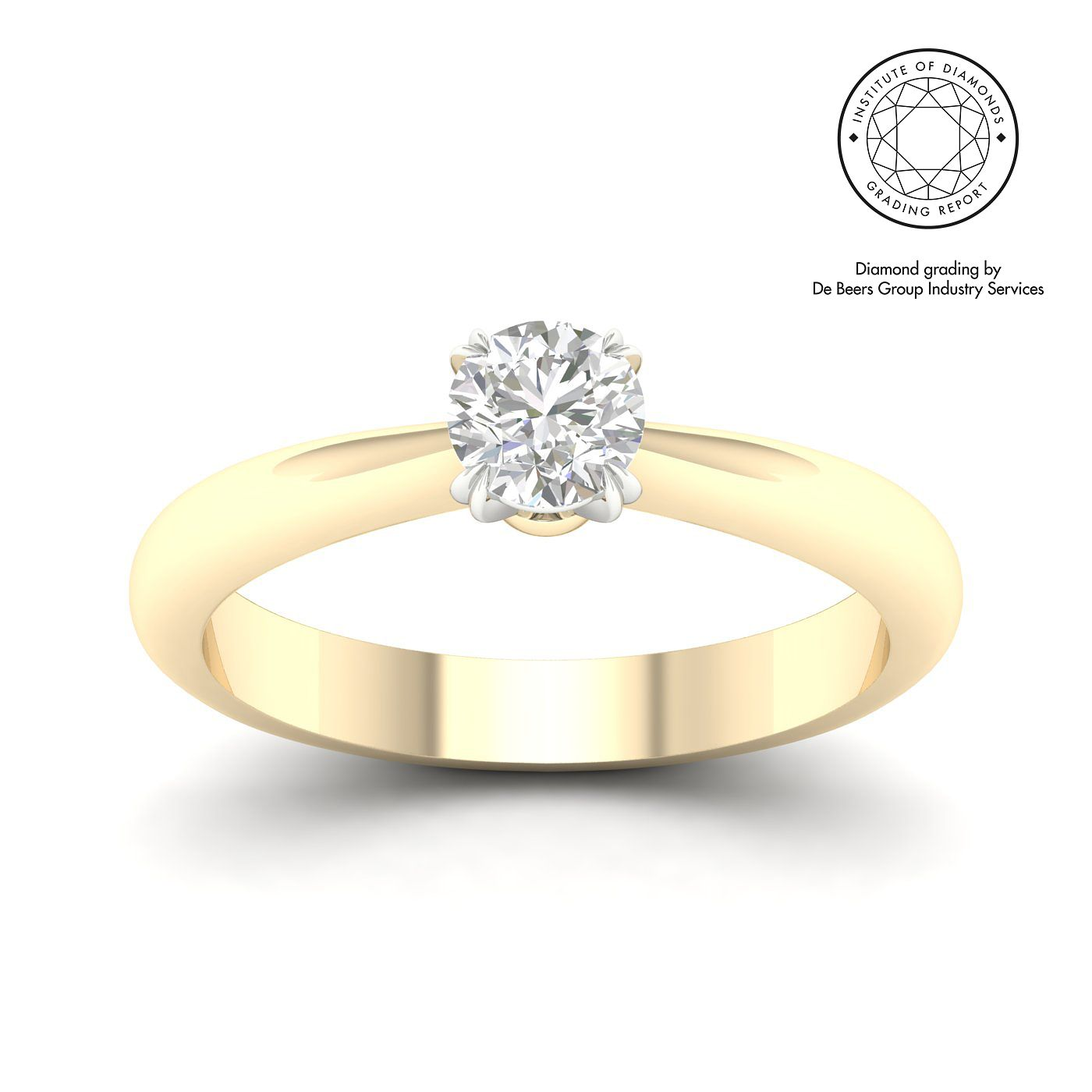 18ct Yellow Gold & Platinum 0.50ct Diamond Solitaire Ring - Product number 3249158
