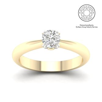 18ct Yellow Gold & Platinum 1/2ct Diamond Solitaire Ring - Product number 3249158