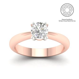 18ct Rose Gold & Platinum 7/10ct Diamond Solitaire Ring - Product number 3249468