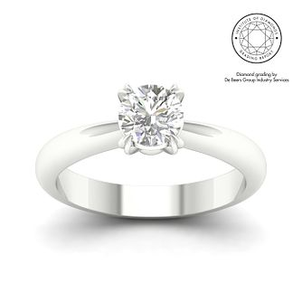 18ct White Gold & Platinum 7/10ct Diamond Solitaire Ring - Product number 3249921