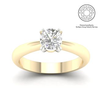 18ct Yellow Gold & Platinum 7/10ct Diamond Solitaire Ring - Product number 3250083