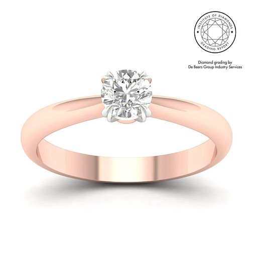 18ct Rose Gold & Platinum 1ct Diamond Solitaire Ring - Product number 3250504