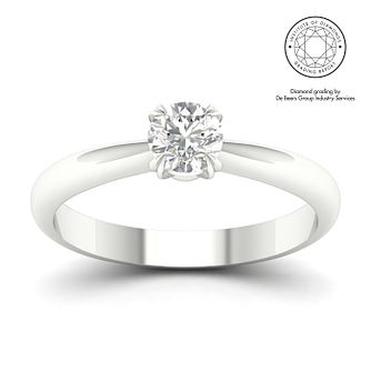 18ct White Gold & Platinum 1ct Diamond Solitaire Ring - Product number 3251012
