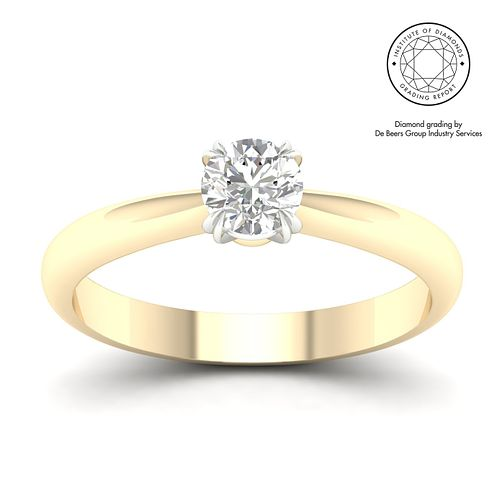 18ct Yellow Gold & Platinum 1ct Diamond Solitaire Ring - Product number 3251284