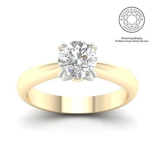 18ct Yellow Gold Platinum 1.5ct Diamond Solitaire Ring - Product number 3252817