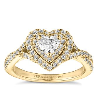 Vera Wang 18ct Yellow Gold 7/10ct Diamond Heart Halo Ring - Product number 3254690