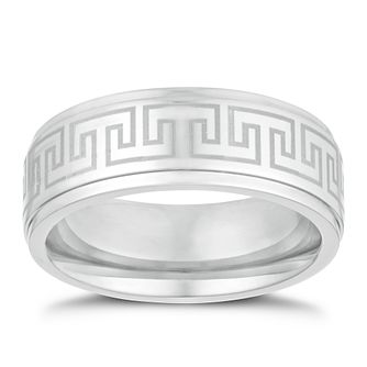 Titanium 8mm Greek Key Design Ring - Product number 3263088