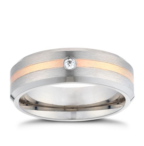 Titanium Cubic Zirconia Rose Gold Line Ring - Product number 3266362