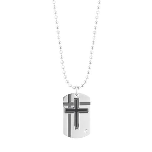 Stainless Steel Cross Cubic Zirconia Dog Tag Pendant - Product number 3267229