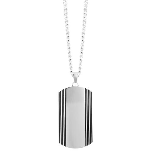 Stainless Steel Side Stripe Dog Tag Pendant - Product number 3267369