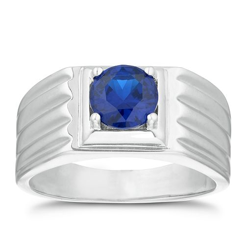 Silver 925 Created Sapphire Square Ring - Product number 3267458