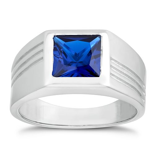 Silver 925 Created Sapphire Square Ring - Product number 3268705
