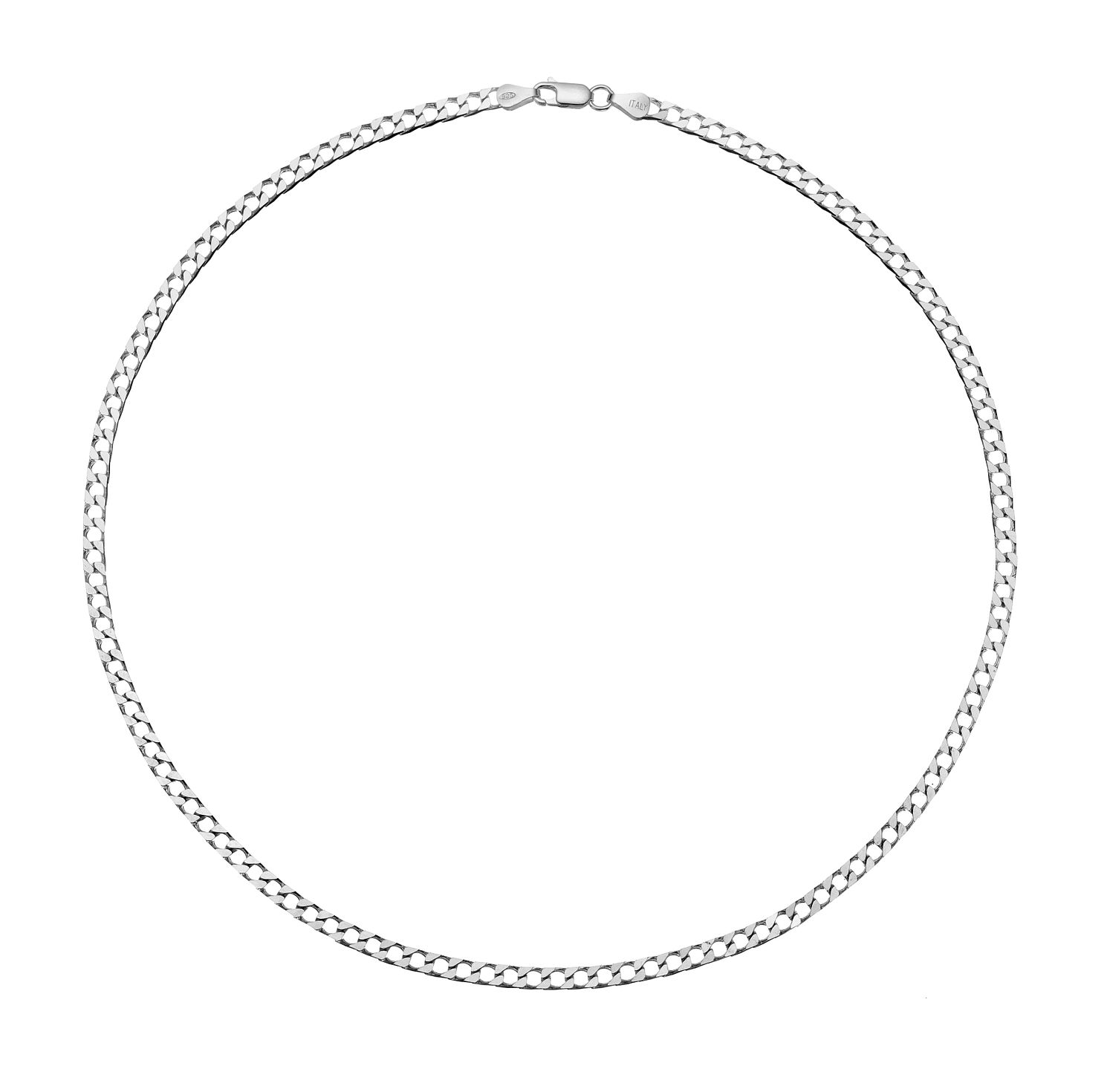 Sterling Silver 20 inches Flat Curb Chain Necklace - Product number 3271196